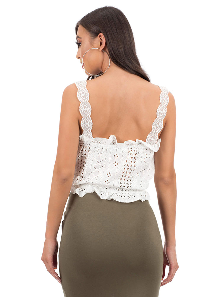 All Eyelets On Me Lacy Ruffled Top WHITE