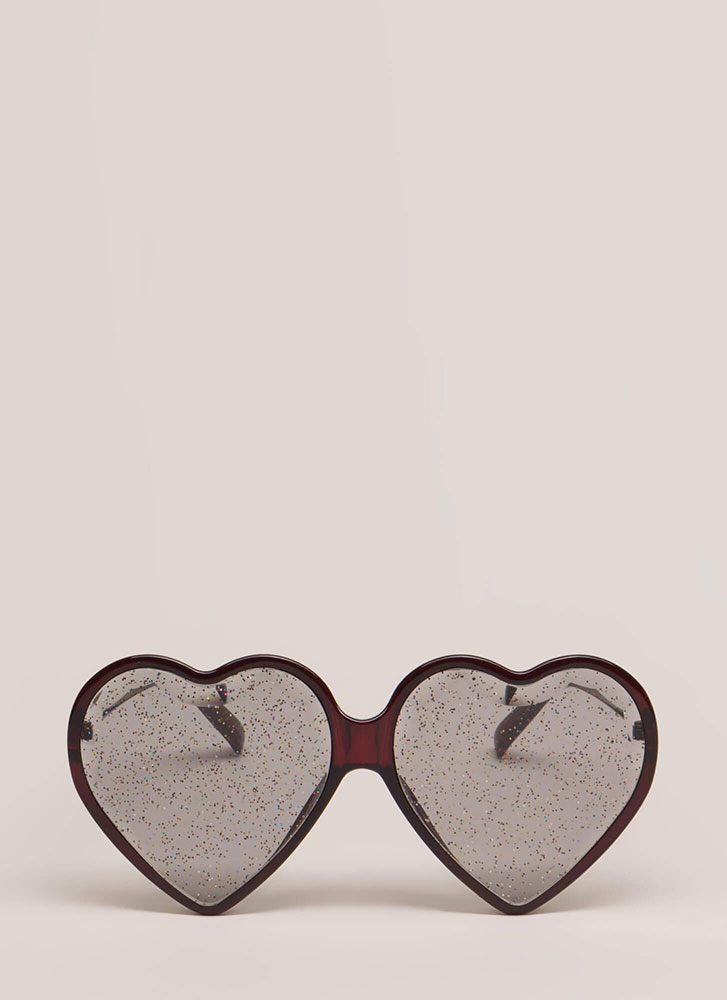 Heart Eyes Glittery Sunglasses RED