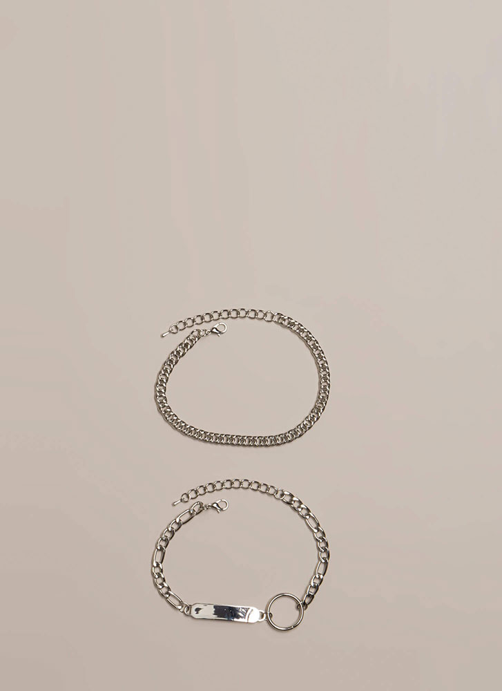 Tag You're It Chain Anklet Duo SILVER