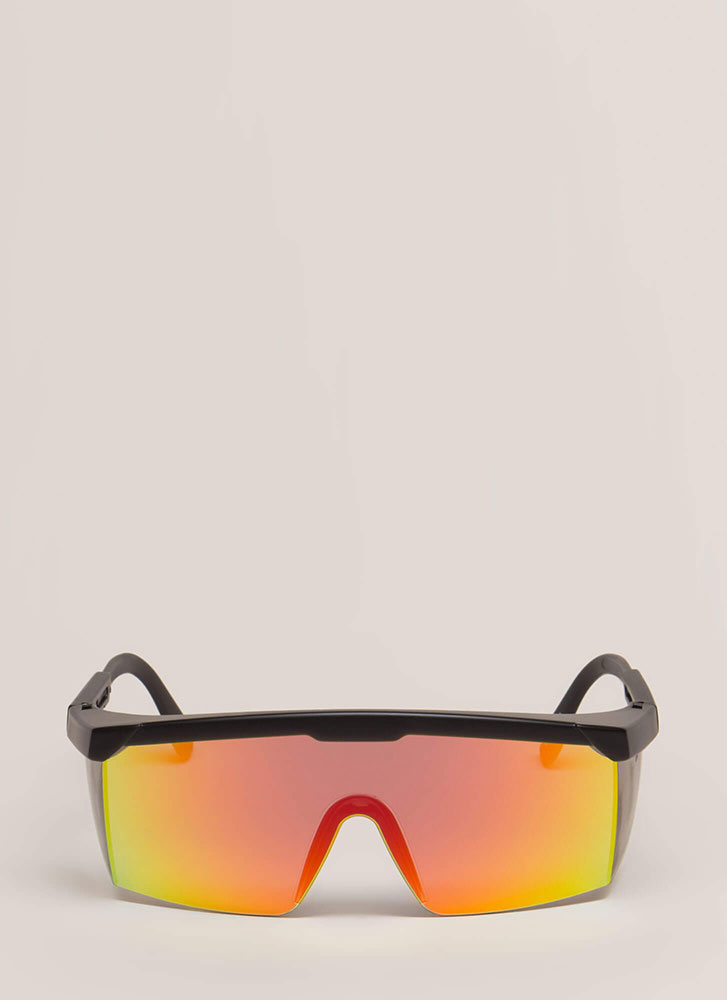 Blinders On Sporty Reflective Sunglasses BLACKRED