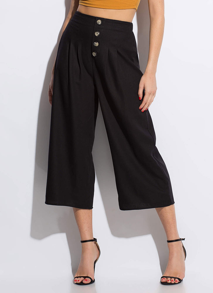 Vacation Wear Cropped Wide-Leg Pants BLACK
