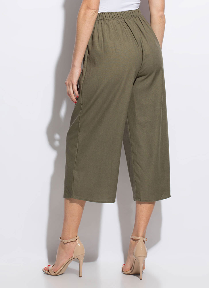 Vacation Wear Cropped Wide-Leg Pants OLIVE