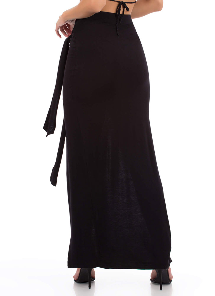 Sarong Night Knotted High-Low Maxi Skirt BLACK