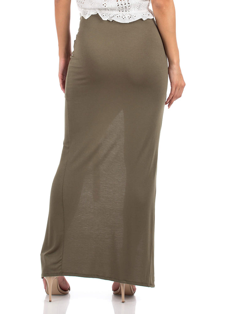Sarong Night Knotted High-Low Maxi Skirt OLIVE