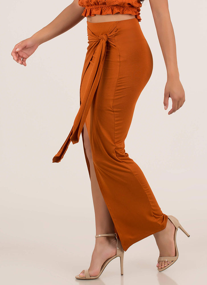 63242bdb4 Sarong Night Knotted High-Low Maxi Skirt RUST OLIVE - GoJane.com