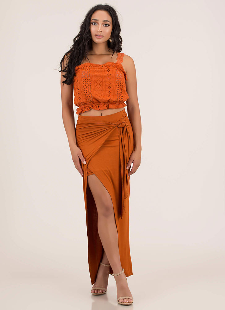 Sarong Night Knotted High-Low Maxi Skirt RUST