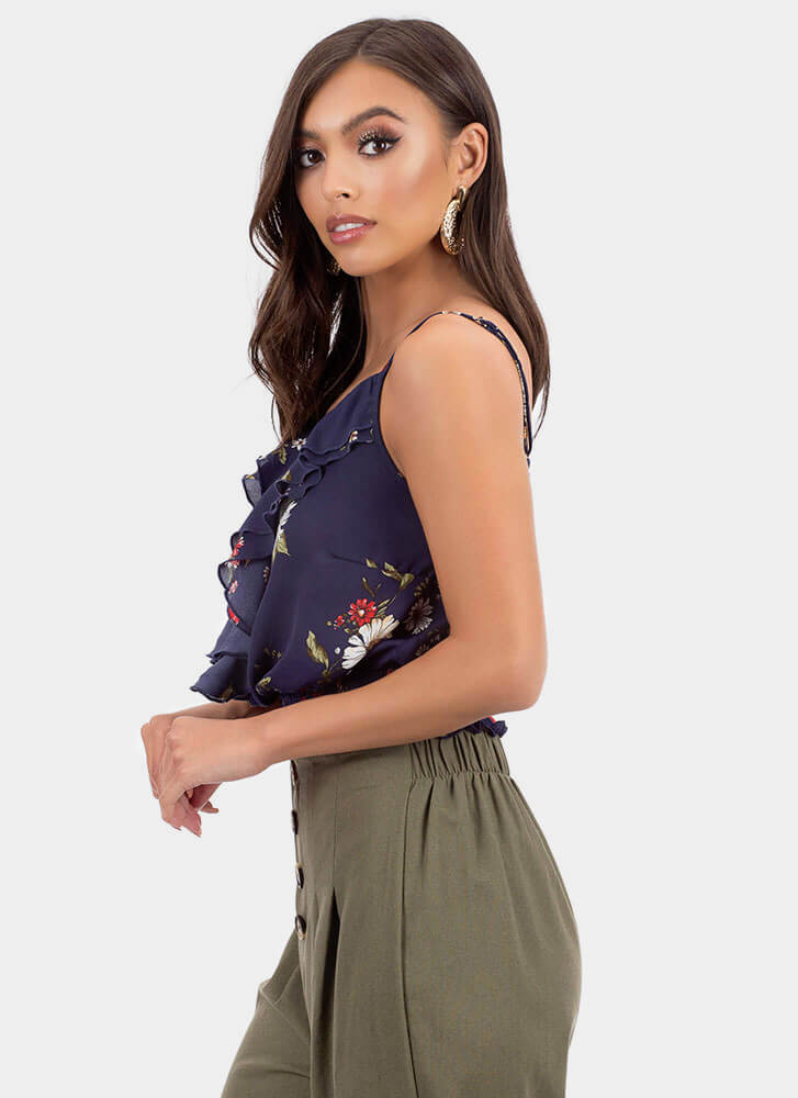 Secret Garden Ruffled Floral Tank Top NAVY