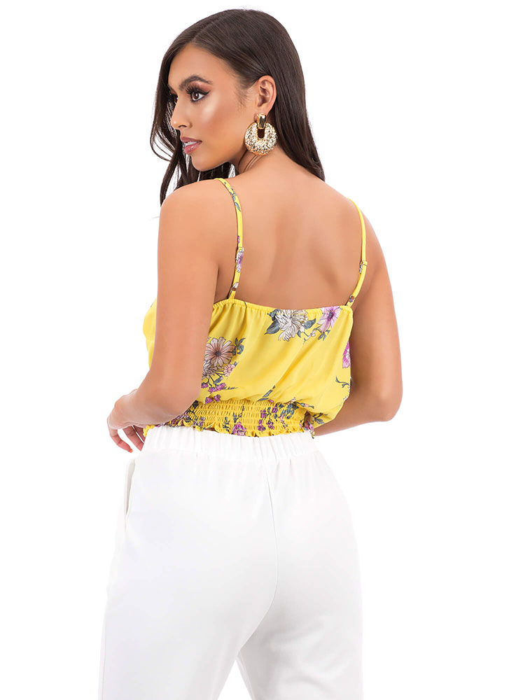 Secret Garden Ruffled Floral Tank Top YELLOW
