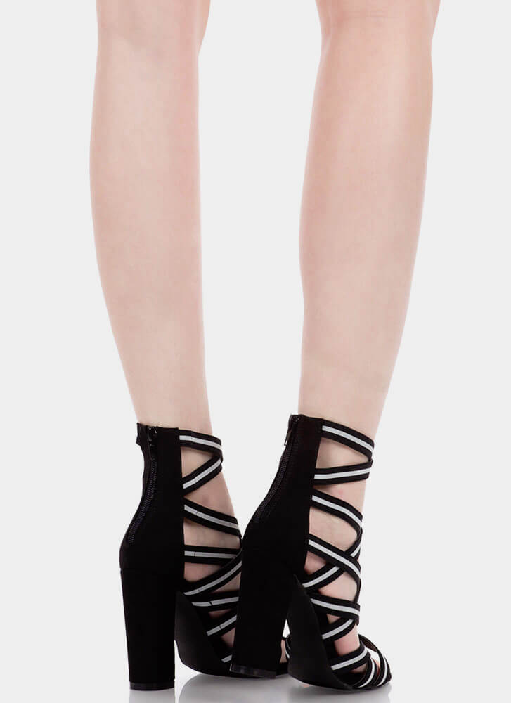 Say It With Stripes Chunky Caged Heels BLACK