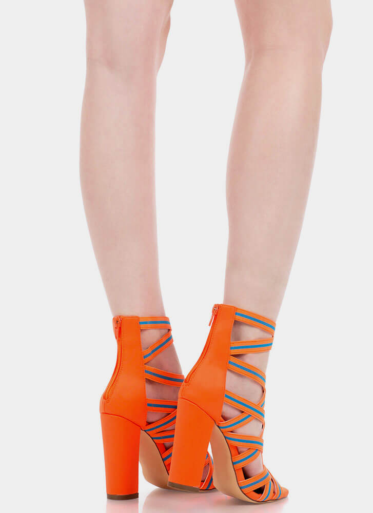 Say It With Stripes Chunky Caged Heels ORANGE