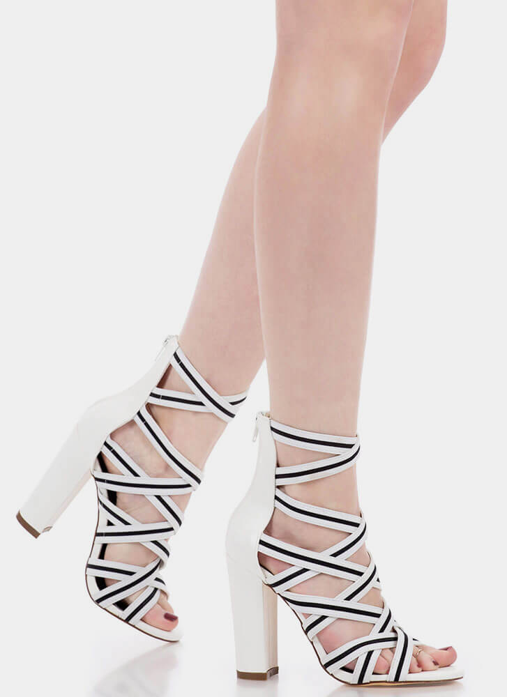Say It With Stripes Chunky Caged Heels WHITE