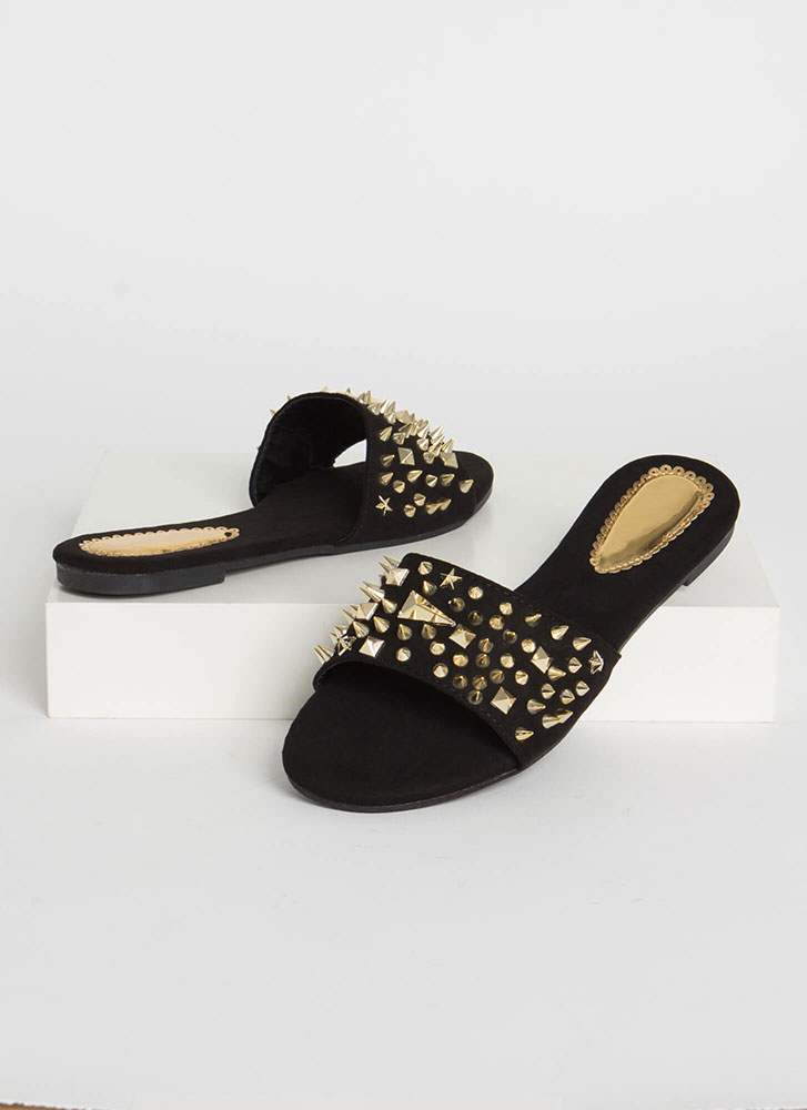 Studs Wearing Spikes Slide Sandals BLACK