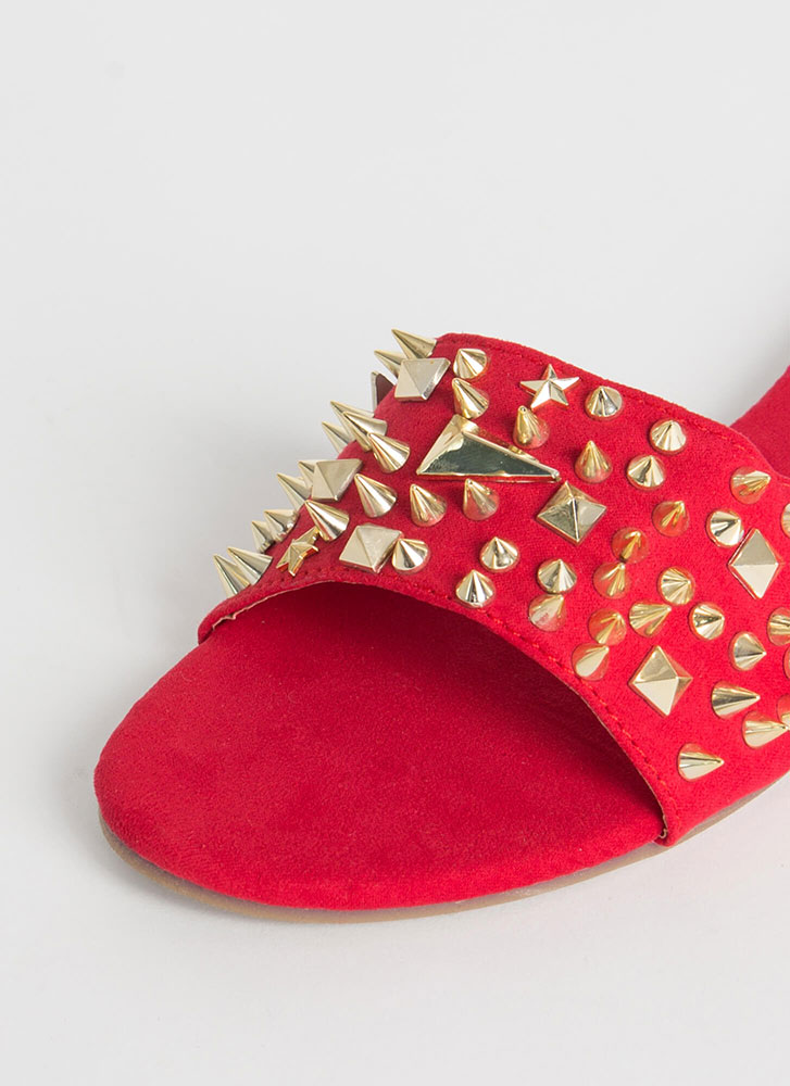Studs Wearing Spikes Slide Sandals RED