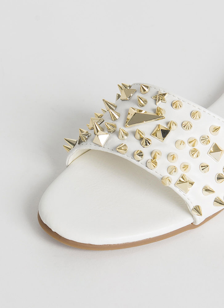 Studs Wearing Spikes Slide Sandals WHITE