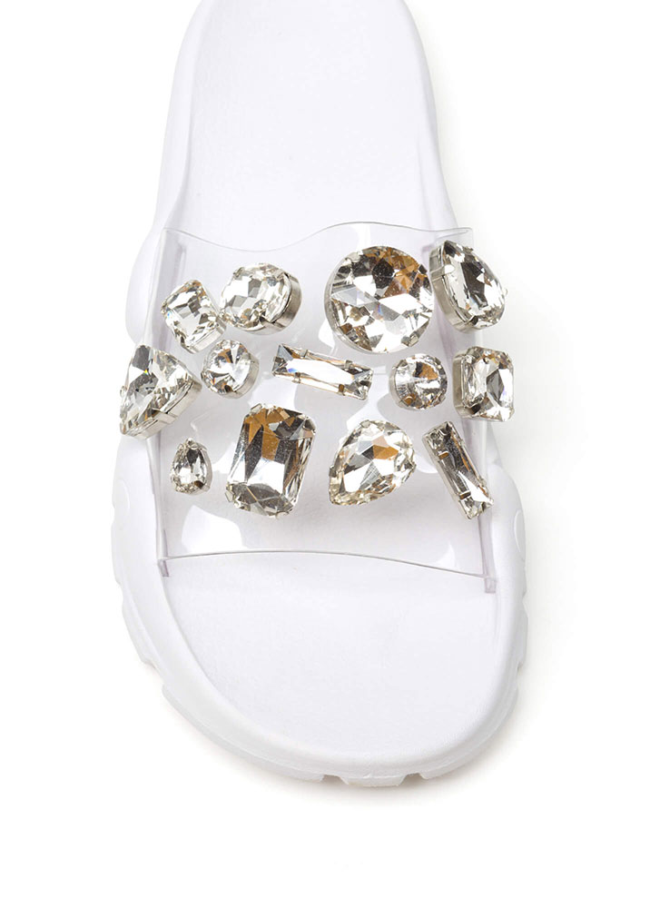 Crystal Clear Sporty Slide Sandals WHITE (Final Sale)