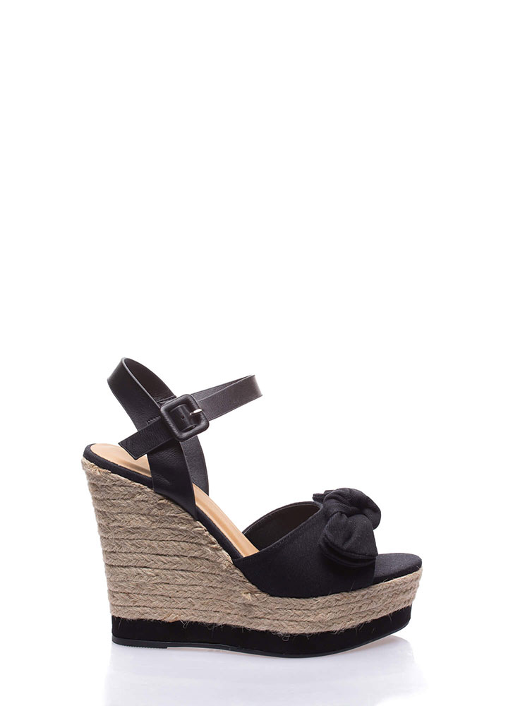 Knot To Be Outdone Platform Wedges BLACK