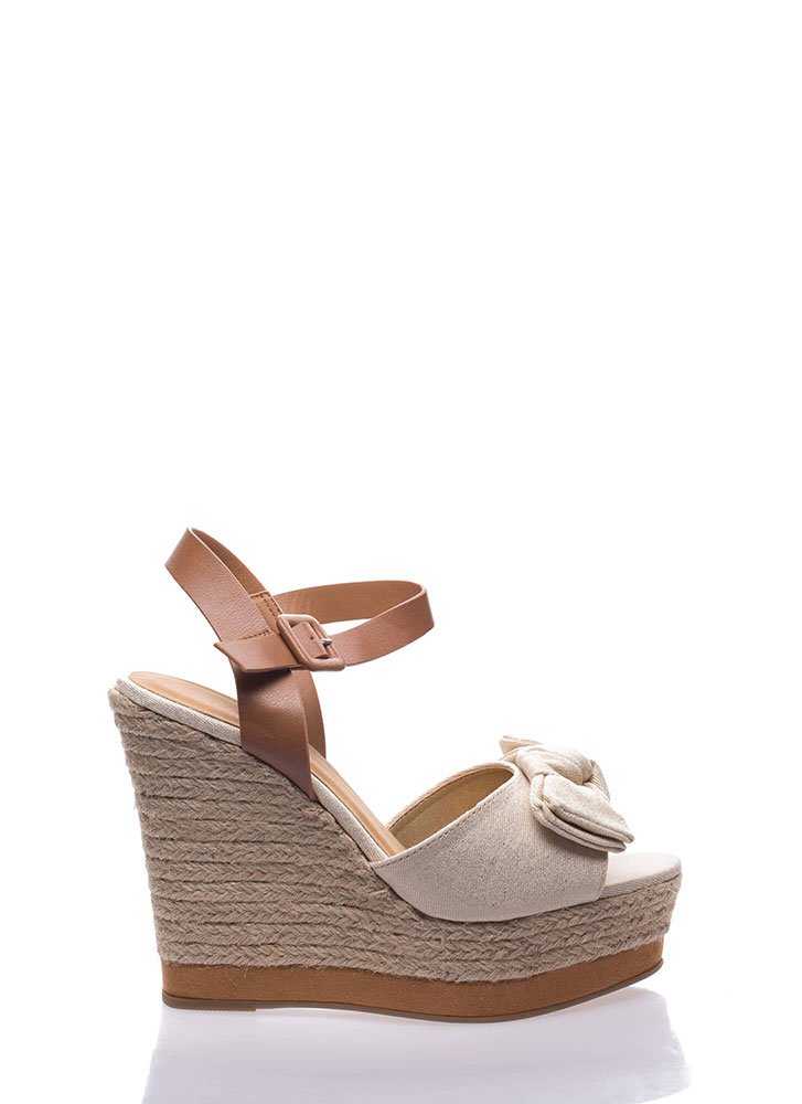 Knot To Be Outdone Espadrille Wedges GOLD