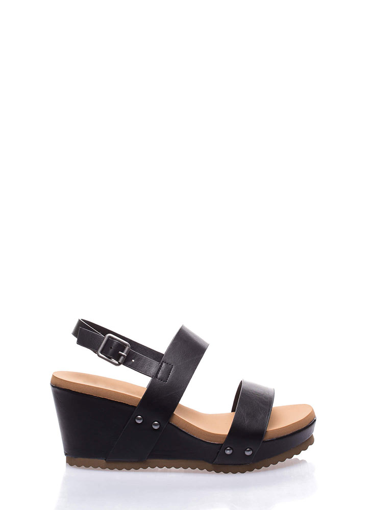 Day At The Races Strappy Platform Wedges BLACK (Final Sale)