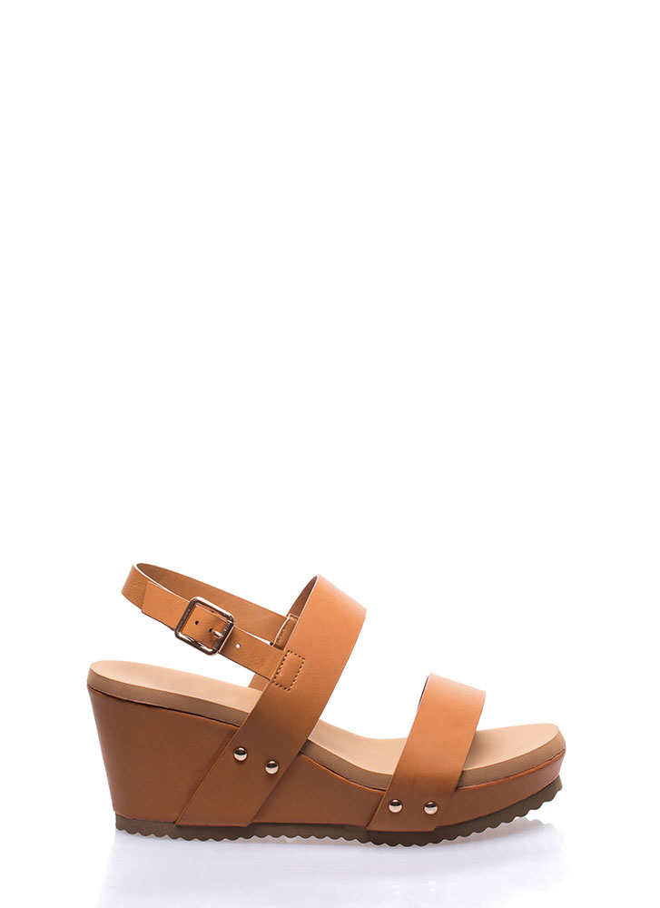 Day At The Races Strappy Platform Wedges TAN (Final Sale)