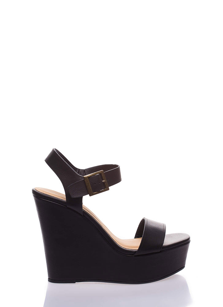 High And Mighty Platform Wedges BLACK