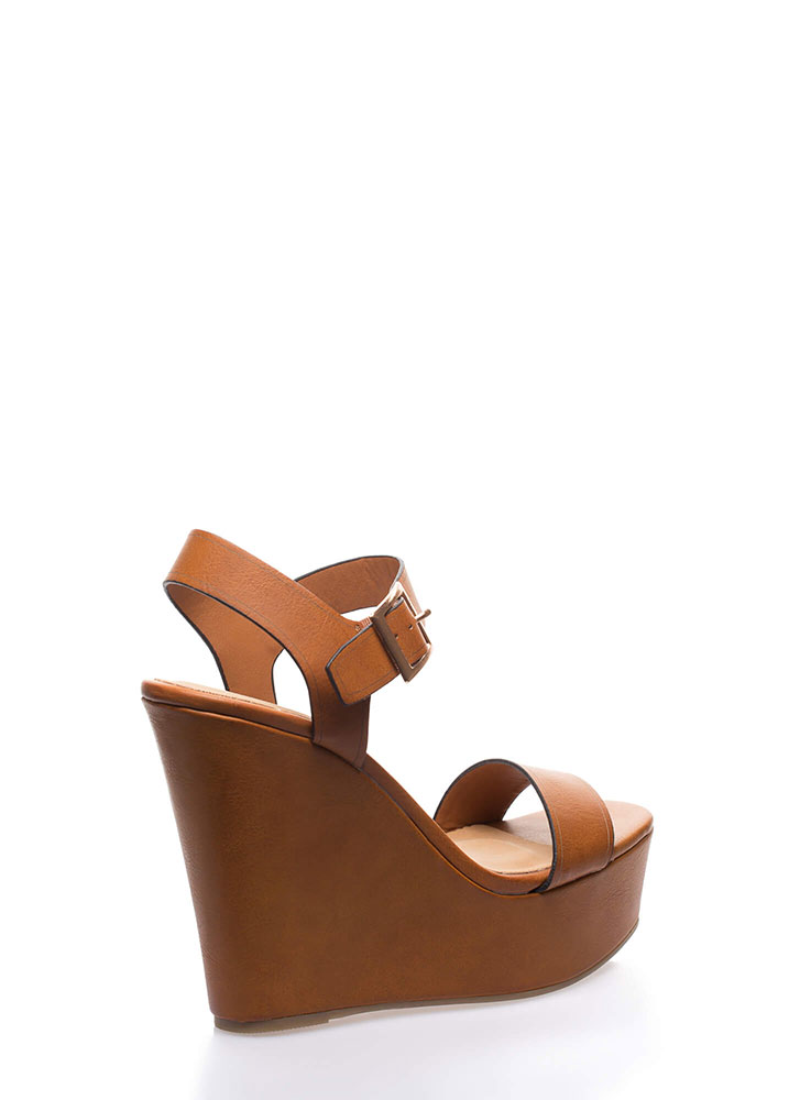 High And Mighty Platform Wedges TAN