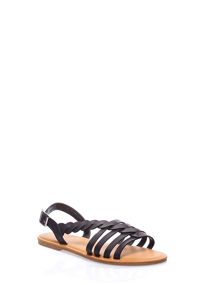 A Twist Of Fate Strappy Sandals BLACK