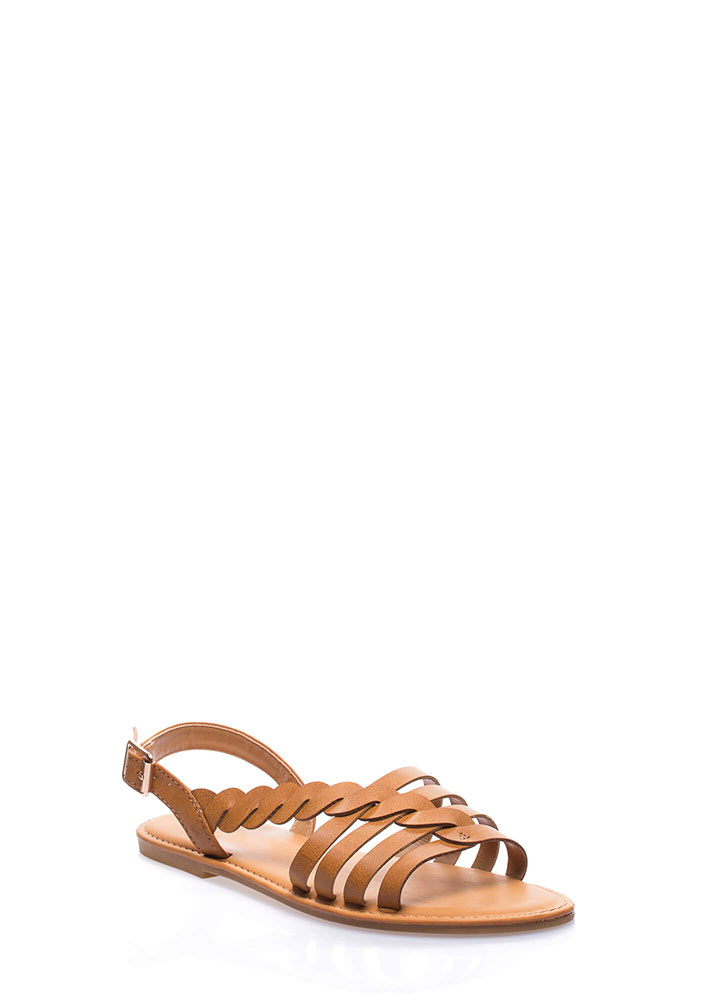 A Twist Of Fate Strappy Sandals TAN