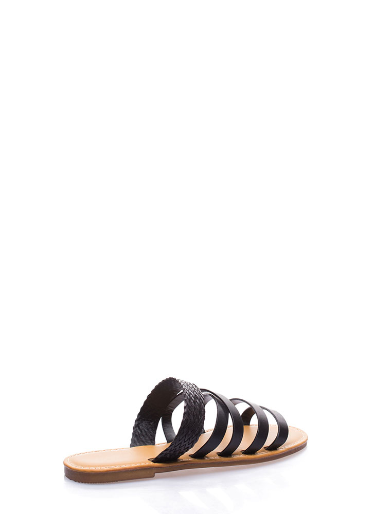 Line Up Strappy Woven Slide Sandals BLACK