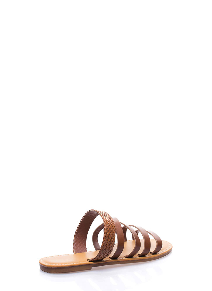 Line Up Strappy Woven Slide Sandals CHESTNUT