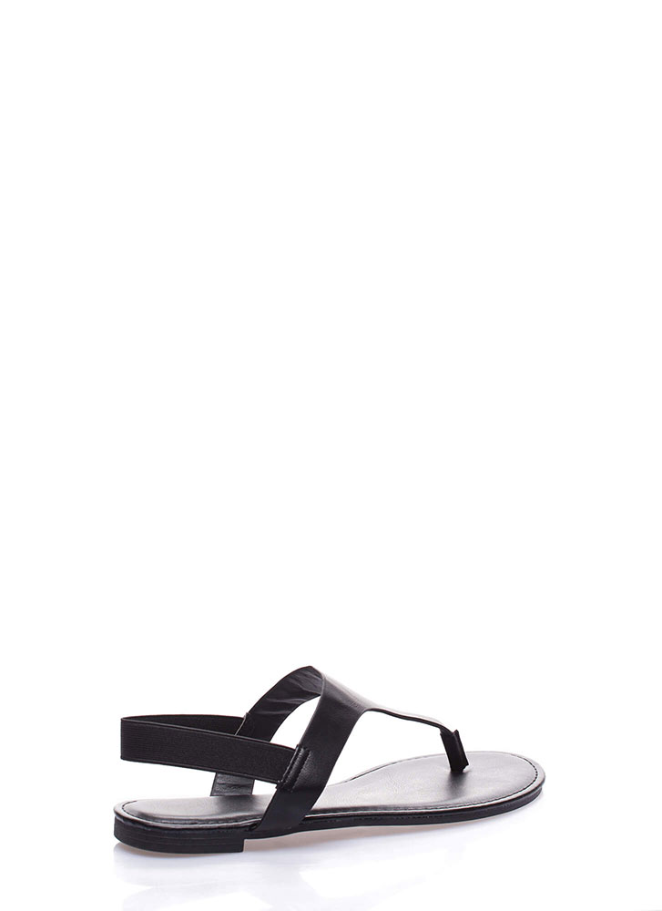 Good Day Faux Leather Thong Sandals BLACK