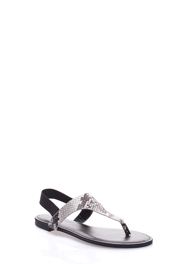 Good Day Faux Snake Thong Sandals BLACK