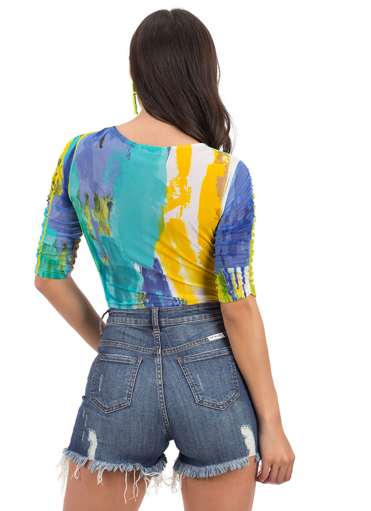 Wet Paint Twist-Front Mesh Bodysuit YELLOW