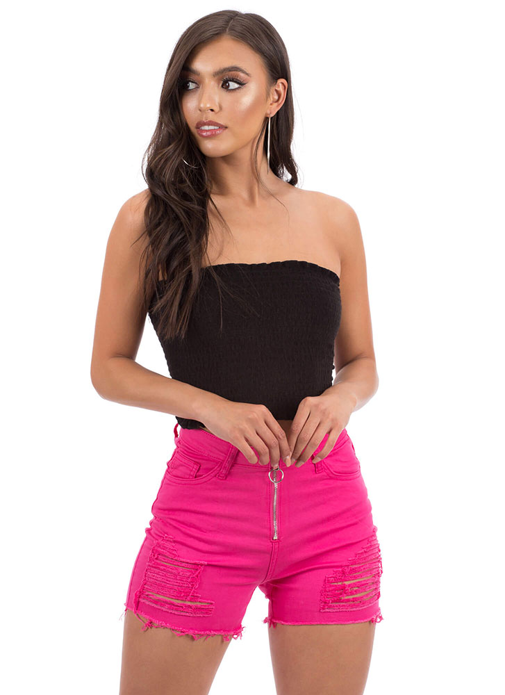 Zip It Good Distressed Cut-Off Shorts NEONPINK