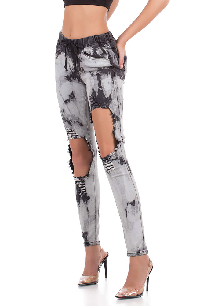 Bleach Babe Destroyed Drawstring Jeans BLACK