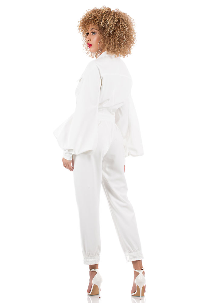 Drama Button-Up Balloon-Sleeve Jumpsuit WHITE (You Saved $76)