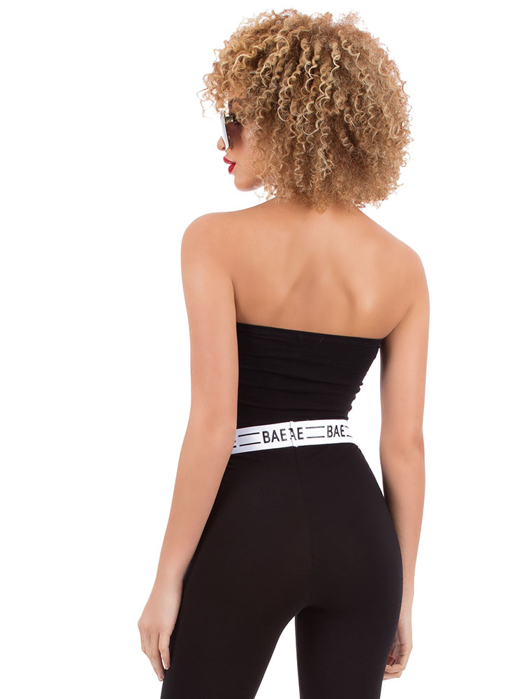 Bae All You Can Be Cropped Tube Top BLACK