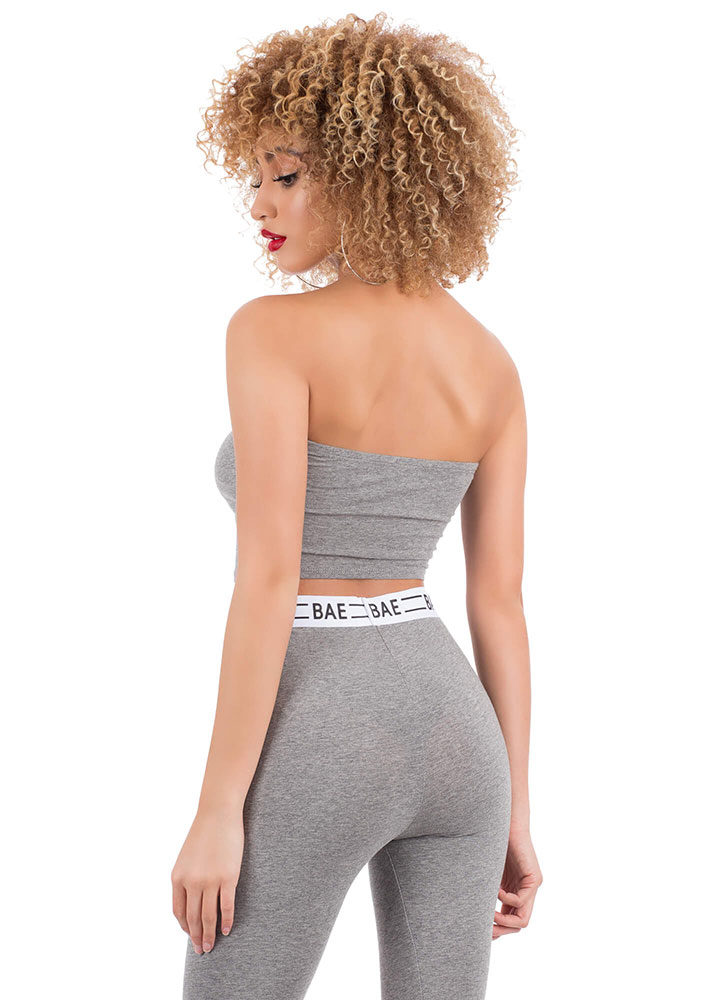 Bae All You Can Be Cropped Tube Top HGREY (You Saved $5)