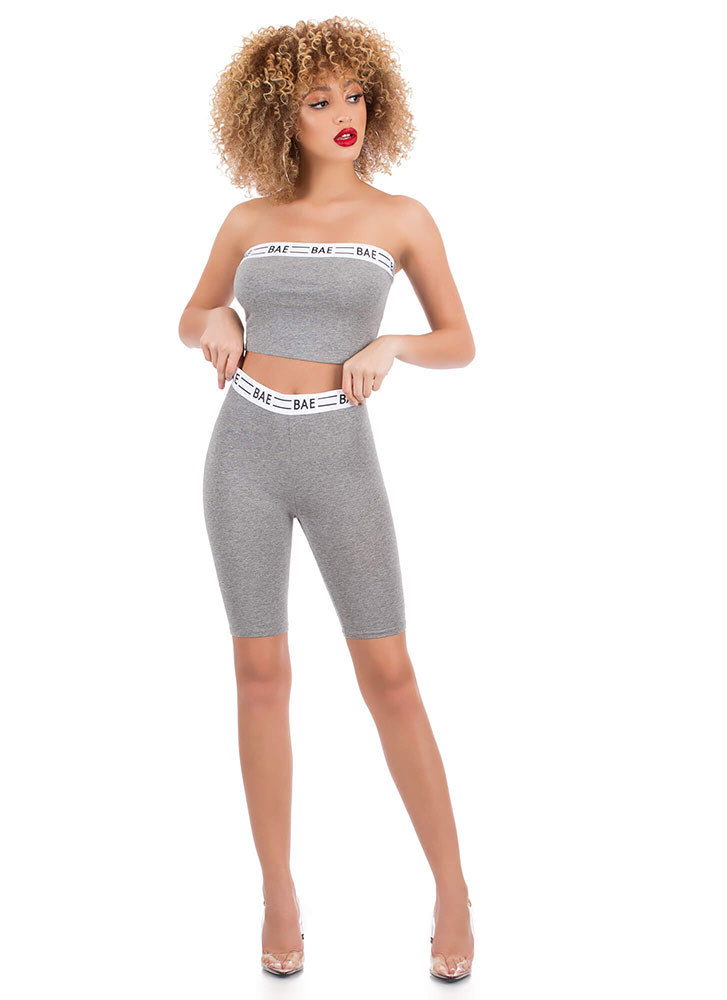 Bae All You Can Be Cropped Tube Top HGREY