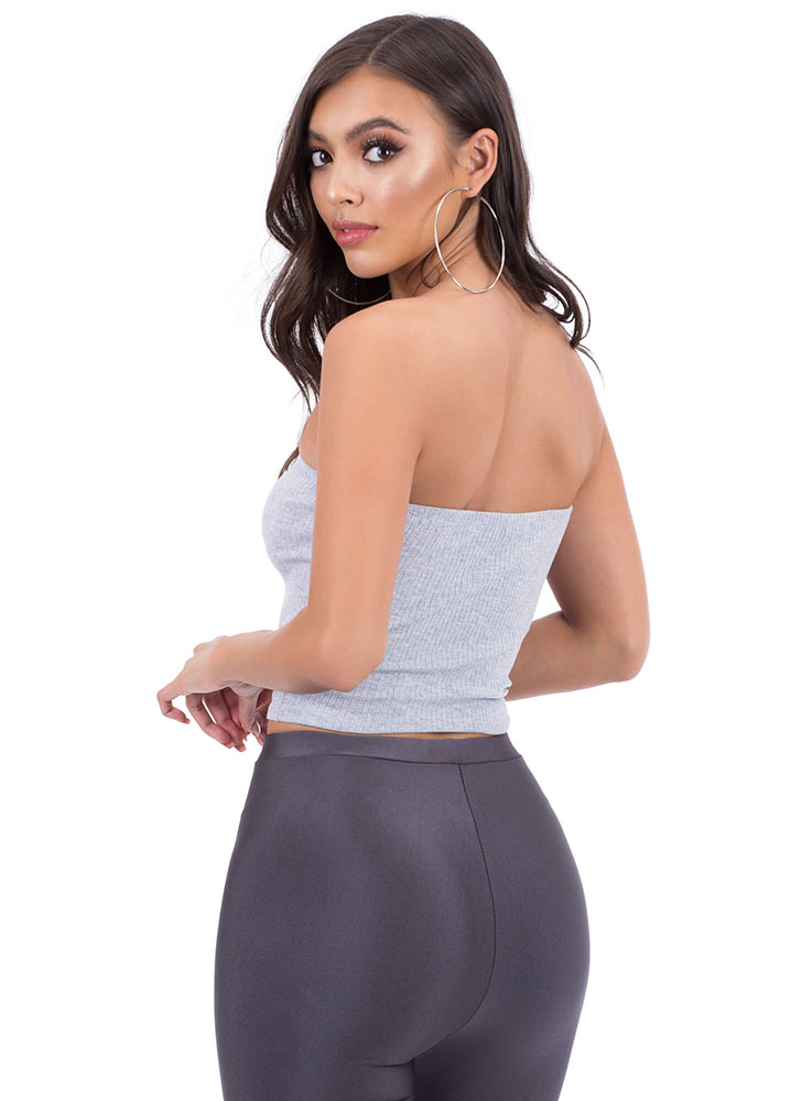 It's Knot Everyday Ribbed Tube Top HGREY