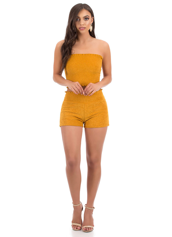 Terry On Smocked Ruffled Tube Top MUSTARD
