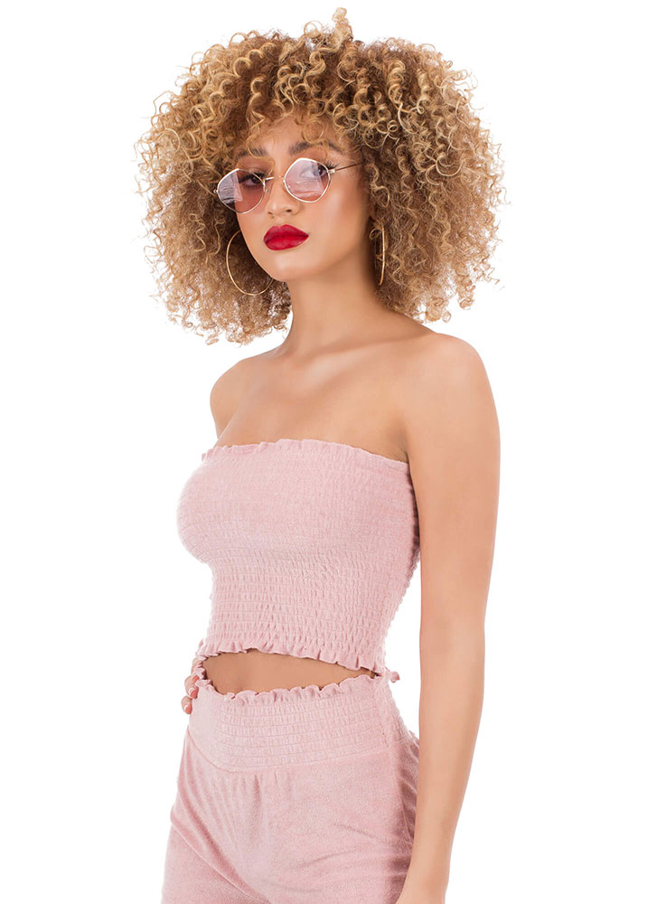 Terry On Smocked Ruffled Tube Top ROSE