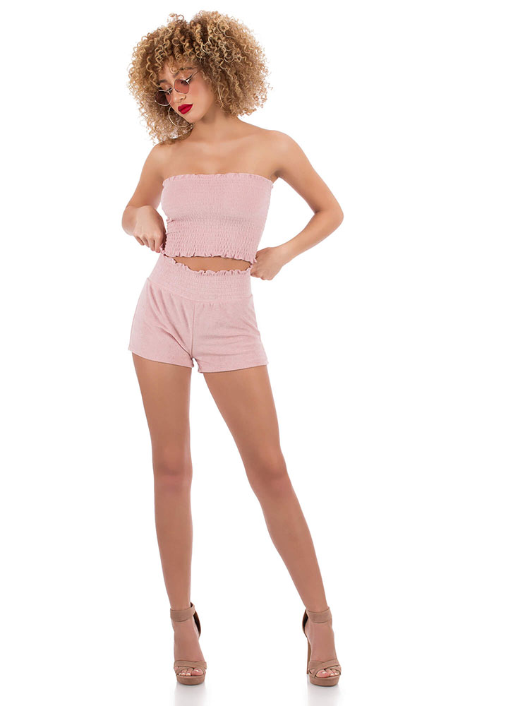 Terry On Smocked Ruffled Shorts ROSE (Final Sale)
