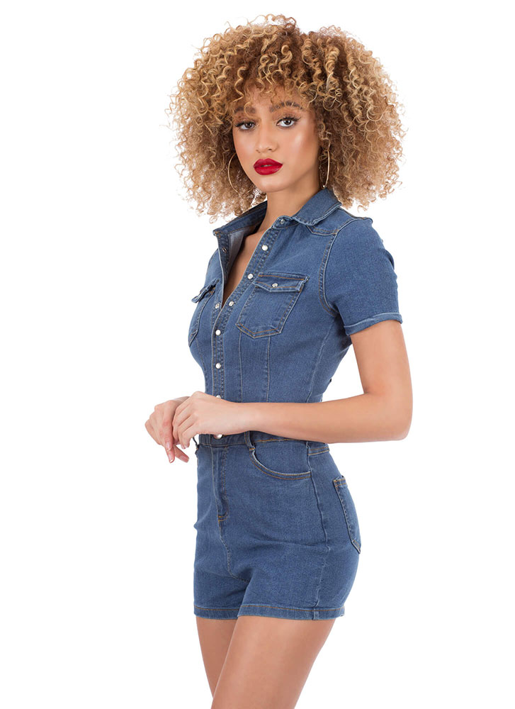 Donesies Denim Button-Up Romper MEDBLUE
