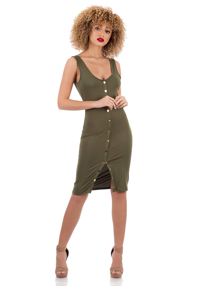 Snap Your Fingers Buttoned Midi Dress OLIVE (You Saved $9)