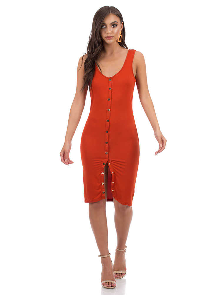 Snap Your Fingers Buttoned Midi Dress RUST (You Saved $9)