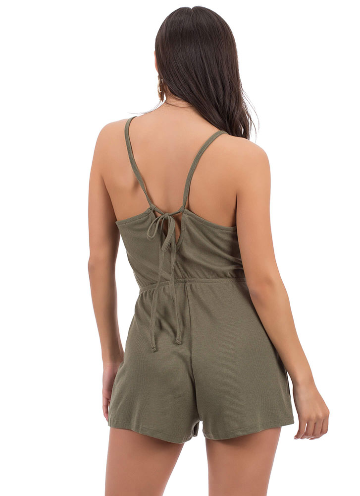 Cute As A Button Tied Rib Knit Romper OLIVE