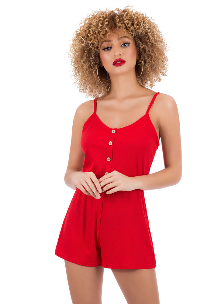 Cute As A Button Tied Rib Knit Romper RED