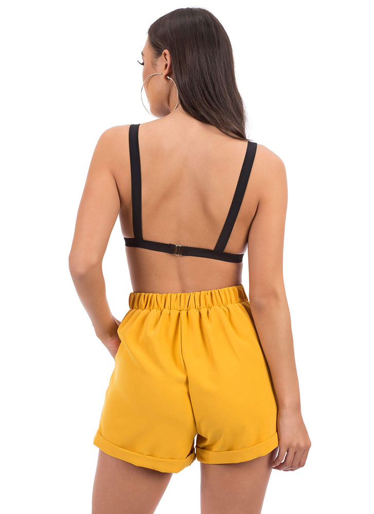 Cute Look Pleated Tie-Front Shorts MUSTARD