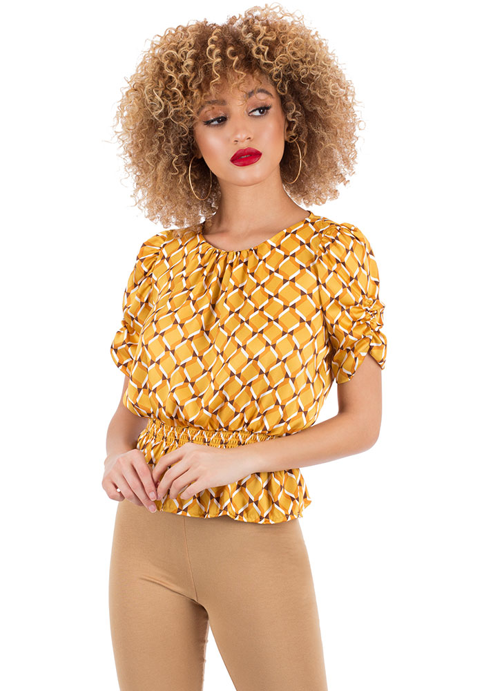 How Sweet Honeycomb Peplum Top by Go Jane