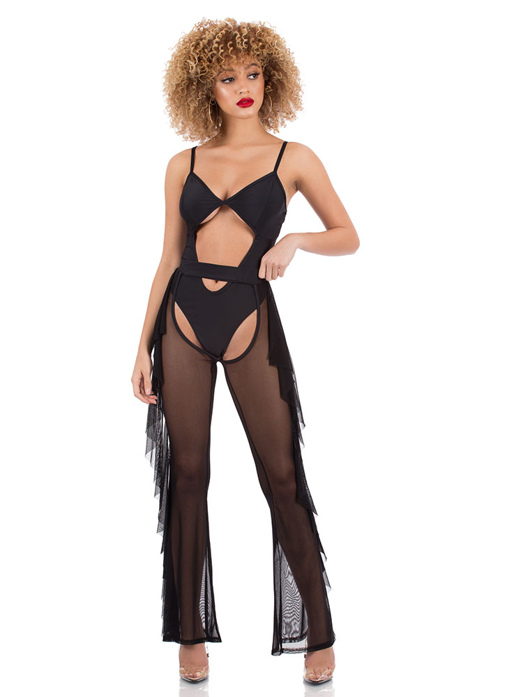 Wild Wild Mesh Swimsuit And Chaps Set BLACK (You Saved $34)